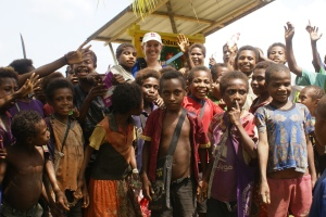 Jodie was a big hit with the village children in Papua New Guinea.