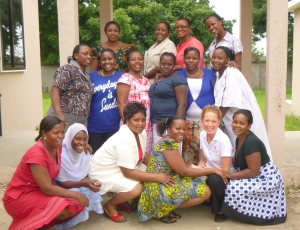 Narelle with the women in Tanzania.