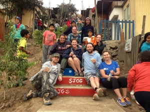 Kristy with other pilgrims on the steps they helped build in the town of Pamplona.