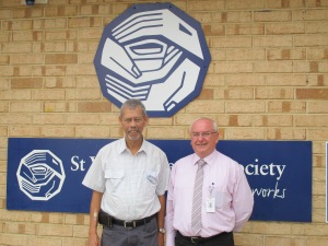 President St Vincent de Paul Mandurah Winston Rennick and Murdoch Hospital's Director of Mission Colin Keogh.
