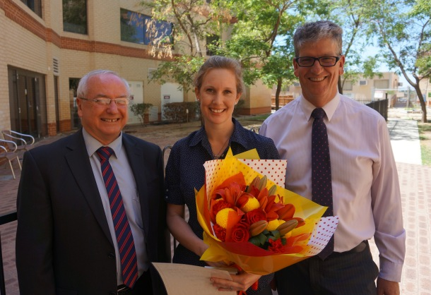Director of Mission Colin Keogh, Melissa Coventry and Director of Nursing Adam Coleman.