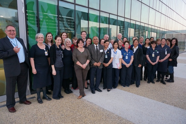 Our cancer centre caregivers outside their new workplace.