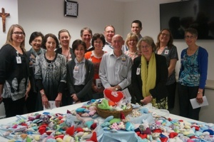 The Pastoral Services team with the beautiful hearts made for patients and their families.