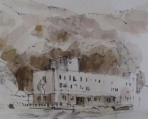 Peter Davidson's drawing After 3/11- Ogatsu Ishinomaki Hospital.