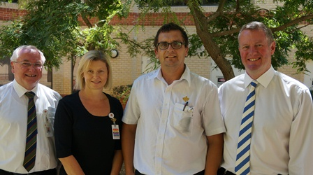 Director of Mission Colin Keogh, ICU Manager Tanya Agnew, Clinical Nurse Gerry Muir and CEO John Fogarty.