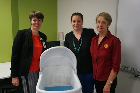 Caption: St John of God Murdoch Hospital Nurse Manager Sue Bradshaw, St John of God Mount Lawley Hospital midwife Kristy Wiegele and Melville Rotary Community Service Director Jacqueline Heron.