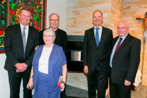 CEO John Fogarty, Sister Gratiae O'Shaughnessy SJG, the Most Reverend Bishop Donald Sproxton, Group CEO Michael Stanford and Director of Mission Colin Keogh.